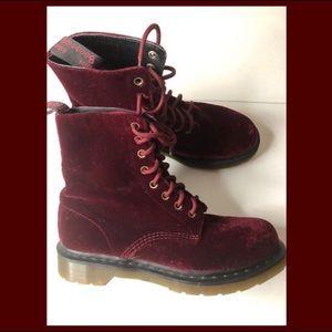 Dr. Martens Red Velvet Boots Air Ware